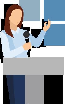 Illustration of Karin speaking